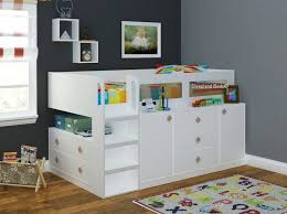 Kids Beds With Storage Cosmos Midsleeper Cabin Bed With Storage White Childrens And