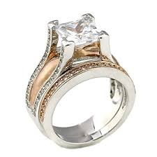 cathedral setting 2ct princess cut bold cathedral setting gold plated two tone