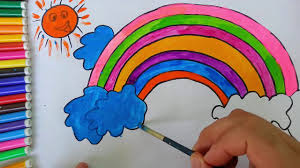 how to draw a rainbow coloring pages kids songs learn drawing