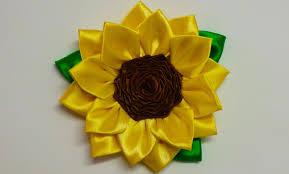 sunflower ribbon diy kanzashi sunflower how to make kanzashi flower diy flores de