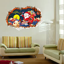 popular christmas 3d wallpapers buy cheap christmas 3d wallpapers 3d 2018 merry christmas wall stickers new year household room wall art santa clause mural decor
