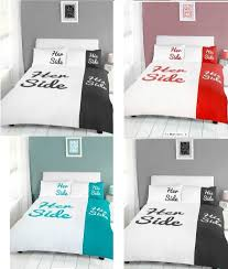 his and hers bed set side his side duvet quilt cover bedding set with pillowcases