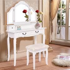 Folding Vanity Table Costway White Tri Folding Mirror Vanity Makeup Table Set Bathroom