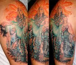 colorful aztec half sleeve tattoo designs tattooshunt com