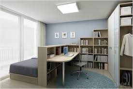 Bedroom  Home Office Combo Divided With Bookcase Home Ideas - Home office in bedroom ideas