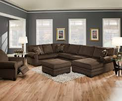 modern minimalist living room design with dark brown u shaped
