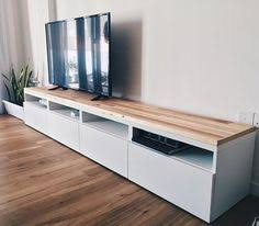Ikea Tv Unit Ikea Besta Tv Stand Hack With Two Lack Shelves Above Natasha