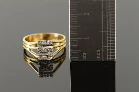 Monogram Gold Ring 14k 2 5g Diamond Accented U0027s U0027 Monogram Letter Initial Yellow Gold