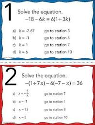 free solving multi step equations stations maze activity