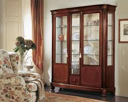 3 Door Display Cabinet Display Cabinet With 3 Doors With Curved Glass In Classic Style