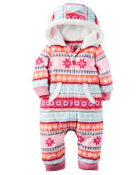 hooded fleece jumpsuit babies girls and babies clothes