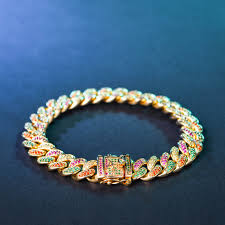 cuban link bracelet images Multi colored iced out cuban link bracelet with green stones jpg