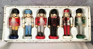 painted wood nutcracker ornaments set of six in