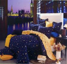 Stars Duvet Cover Deep Blue And Yellow Moon Star Duvet Cover Bedding Twin Full