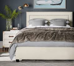 Bed With Headboard Tamsen Square Upholstered Bed Headboard Pottery Barn