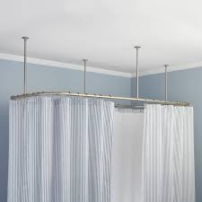 Suspension Curtain Rod Shower Curtain Hanging From Ceiling Mounted Suspended Rod 121 Cute