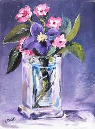 How To Paint A Glass Vase With Acrylic Paint Purple Flower In Glass Vase Acrylic Painting Lessons For