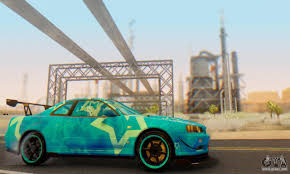 nissan skyline 2014 custom nissan skyline gtr 34 blue star for gta san andreas