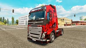 red volvo truck demon skull skin for volvo truck for euro truck simulator 2