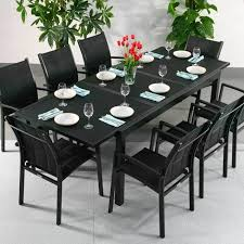 extension dining table and chairs dining table set florence black 8 person aluminium glass