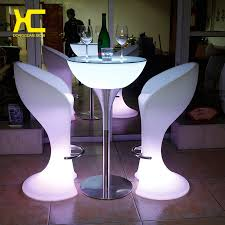 Bar Table And Stool Set Led Luminous Bar Stool Cocktail Table Color Changing Wine