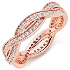 rings rose gold images Silver rose gold plated cubic zirconia stacking ring 0101106