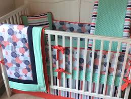 Seashell Crib Bedding Complete Baby Crib Bedding Set In Coral Mint And Navy