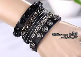 man hand bracelet images Punk rock leather bracelet men rivet bracelets for women hand jpg