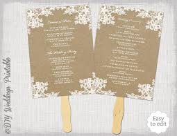 fan programs diy rustic wedding fan program template rustic lace diy kraft order