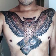 Owl Shoulder - 70 owl chest designs for nocturnal ink ideas