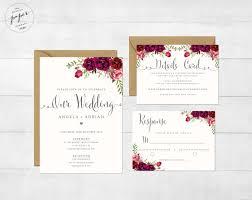 wedding invitation suite floral wedding invitation printable wedding invitation suite
