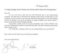 thanksgiving letter to husband tesimonials pinewood residential care nursing home