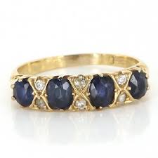 pre owned antique art deco 14k yellow gold sapphire diamond