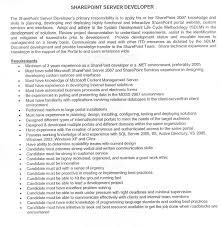 Sharepoint Developer Resume Sample by Sharepoint Developer Resume Resume For Your Job Application