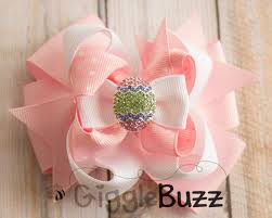 easter hair bows easter egg pink and white stacked hair bow