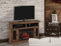 merrick infrared electric fireplace media console in brown cs