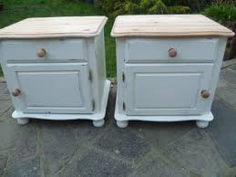 Shabby Chic Blue Paint by 2 X Shabby Chic Solid Pine Bedside Cabinets Annie Sloan White
