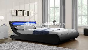 Led Bed Frame Modern European S Shaped Bedroom Furniture Design Size Faux