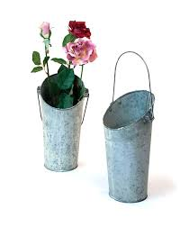 Galvanised Vases French Bucket Vase 11 Inch Tall Galvanized Galvanized French