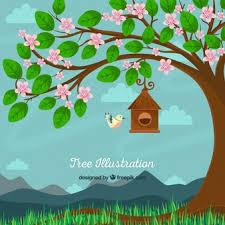 tree and bird vector free