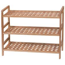 3 tier shoe rack walnut wood criss cross shelf storage organiser