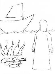 bible story coloring risen jesus seashore free