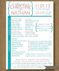 sle of wedding reception program wedding ceremony bulletins finding wedding ideas