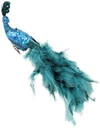 set of 2 regal peacock feathered peacock