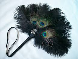 peacock feather fan glamorous black ostrich peacock feather diamante burlesque