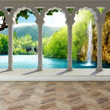 wall mural waterfall in deep forest arch structure peel and zoom