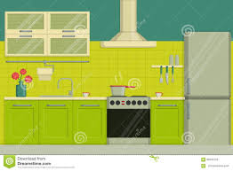 Kitchen Green Kitchen Colors Stock Interior Illustration Of A Modern Lime Colored Kitchen Including