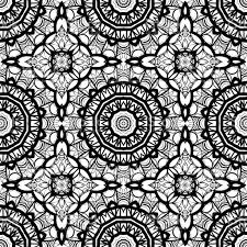 seamless background with modern design floral mandala ornament black