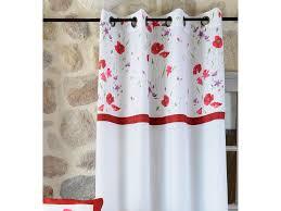 rideau style montagne rideau tamisant à œillets polyester blanc parement fleur