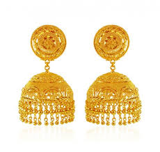 gold jhumka earrings 22k gold jhumka ajer62767 22k gold indian design jhumka